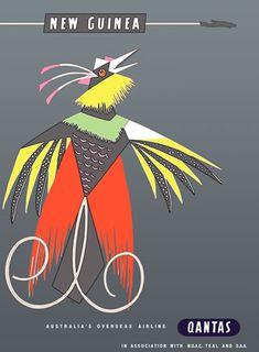 Qantas New Guinea travel poster Harry Rogers - Bird of Paradise