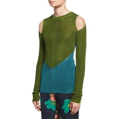 Etro Bicolor Cold-Shoulder Sweater ($950) ❤ liked on Polyvore featuring tops, sweaters, blue, pullover sweaters, crew neck sweaters, cut out shoulder top, crewneck sweaters and open shoulder sweater