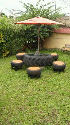 recycling furniture reuse old tires gate furniture umbrella Tire Furniture, Recycled Furniture, Garden Furniture, Automotive Furniture, Furniture Nyc, Furniture Removal, Street Furniture, Cheap Furniture, Discount Furniture