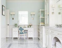 Designer Spotlight- Melissa Haynes Design - The Enchanted Home Grey Bathrooms, Beautiful Bathrooms, Bathroom Chair, Bathroom Cabinets, Master Bathroom, Wall Design, House Design, Decor Market, Serene Bedroom