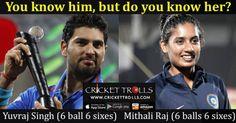 Yuvraj Singh, Mithali Raj – 6 ball 6 sixes Yuvraj Singh Mithali Raj Cricket Trolls Cricket #Cricket #YuvrajSingh #MithaliRaj #AsiaCup #TeamIndia http://www.crickettrolls.com/2016/02/19/yuvraj-singh-mithali-raj-6-ball-6-sixes/