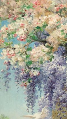 stars in your heart — keirabisexual: Le Printemps, Eugene Bidau Aesthetic Painting, Aesthetic Art, Bel Art, Painting Wallpaper, Monet Wallpaper, Oil Painting Background, Art Hoe, Flower Aesthetic, Classical Art