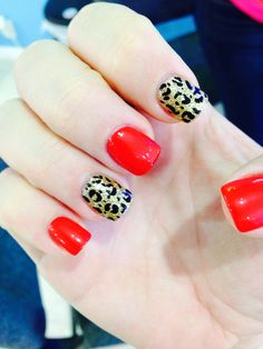 Red, Gold, & Leopard Nails