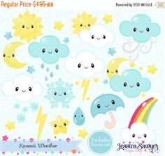 80% OFF - INSTANT DOWNLOAD - Kawaii Weather Clipart and Vectors for personal and…