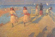 Philip Wilson Steer, Girl Running, Walberswick Pier, huile sur toile, 1888-1894, 62,9 x 92,7cm, Tate Britain, Londres. Wilson Steer emprunte des caractéristiques que l'on retrouve chez les impressionnistes français comme le traitement des ombres et de la lumière.