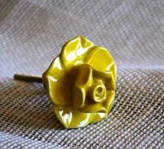 Ceramic Yellow Rose Knob #floral #accessories #rose #yellow #decorative #knob #vintage