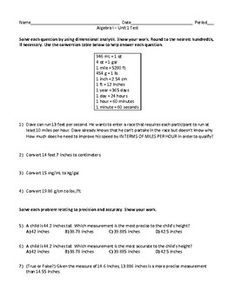 This product is aligned to the Algebra I standards. A unit test on the first part of Algebra I curriculum is included. This exam has 25 questions ranging from short answer to multiple choice. The following topics are covered in this test:Dimensional Analysis Precision and AccuracySimplifying Radical... Teaching Math, Teaching Resources, Adding And Subtracting Polynomials, Simplifying Radicals, Dimensional Analysis, Multiple Choice, Algebra, Teacher Newsletter, Teacher Pay Teachers