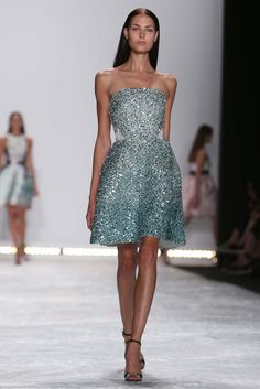Monique Lhuillier RTW Spring 2015 - Slideshow  Like fabric color and dress proportion/movement on model.