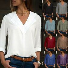 Womens Chiffon Plain Long Sleeve Blouse Summer Casual V Neck Loose Tops T Shirts for sale Extra Long Tank Tops, Loose Tops, Loose Fit, Long Sleeve Sweater, Long Sleeve Tops, Long Sleeve Shirts, T Shirts, Casual Shirts, Spring Summer