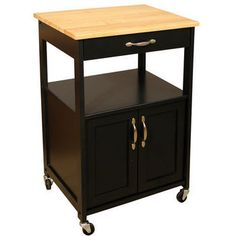 "size 23-1/2"" W x 17-1/2"" D x 34-1/2"" H Kitchen Trolley with a Black Finish and Natural Hardwood Top by Catskill 