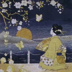 A Japanese lady in traditional dress sits on a balcony and watched the sunset as butterflies flit about among the cherry blossom.
