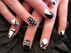 Acrylic overlay with black and white multi design nail art