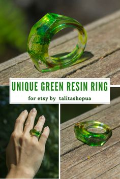 Unique nature green resin ring. Faceted ring for Etsy.