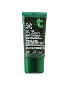 $27.95  The body shop Tea Tree Pore Minimiser. Minimise pores and banish blackheads with The Body Shop's soothing Tea Tree formula. Infused with Community Fair Trade organic tea tree oil, it smooths, primes and mattifies, and leaves skin feeling fresh and pure.