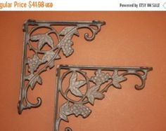 Check out ON SALE 2pcs) shelf brackets, medium shelf brackets, 6.75 x 9, 7x9, 7 x 9, shelf brackets, cast iron shelf brackets, grape leaves, B-12 on wepeddlemetal