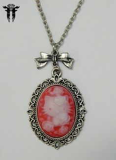 Gothic Hello Victorian Red Ivory Kitty Cameo Bow Silver Plated Pendant Necklace #Handmade #Chain