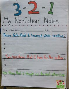 3-2-1 Nonfiction research strategy from Read Write Think, I have used the printable, but I had not thought about a chart. reading response, graphic organizers, anchor charts, reading journals, note taking, readers notebook, bible readings, teacher, third grade