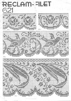 Fillet work Border pattern charts with corners ... Can make equally beautiful cross stitch borders !