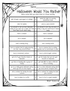 Halloween Would You Rather Diy Halloween Tree, Halloween Foods, Halloween Party Games, Holidays Halloween, Halloween Activities For Kids, Holiday Activities, Goodbye Party, Icebreakers, English Grammar