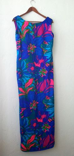Vintage 1960s Hawaiian Resort Floral Maxi Dress by MustLoveDust