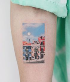 Lovely town scenery tattoo by tattooist Saegeem M Tattoos, Baby Tattoos, Little Tattoos, Body Art Tattoos, Pretty Tattoos, Unique Tattoos, Beautiful Tattoos, Small Tattoos, Scenery Tattoo