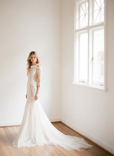 Simple lace fitted modern wedding dress