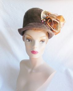 1960's Vintage Gray Fur Felt Hat with Big Rose by MyVintageHatShop