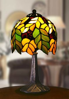 Tiffanylampor Polarfox - Bordslampa Oak Ø18cm