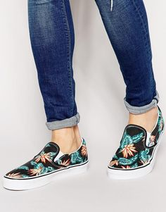 Plimsolls by Vans Canvas textile Floral print Slip-on design Elasticated inserts Round toe Chunky, geometric tread Wipe with a damp sponge 100% Textile upper