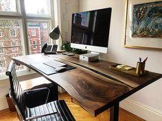 Live Edge Walnut Desk by Earthy Timber. Rustic Desk, Small Room Decor, Adjustable Height Desk, Home Desk, Aesthetic Room Decor, Home Office Design, Wood Office Desk, Pc Desk, Office Table