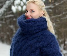 Cable knit sweater hand knitted thick designer pullover chunky warm jumper by SuperTanya Mohair Yarn, Mohair Sweater, Cable Knit Sweaters, Men Sweater, Icelandic Sweaters, Angora, S Models, Shawls And Wraps, Mantel