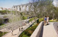 O corredor verde estruturante do vale de Alcântara, em Lisboa, que se prevê estar pronto dentro de um ano, irá permitir concluir a ligação pedonal de Monsanto ao Tejo. VEJA O VÍDEO