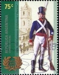 """Stamp: Bicentenary of the Creation of Infantry Corps """"Patricios"""" (Argentina) (Anniversary) Mi:AR 3089,WAD:AR068.06"""