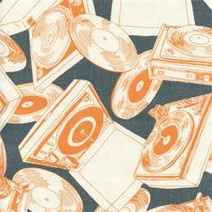 Grey orange white fabric Vinyl Days Apache Macon Drapery Fabric by Premier Prints