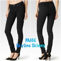 NWT PAIGE Skyline Skinny Black Jeans SZ 24 NWT PAIGE Skyline Skinny Black Jeans SZ 24. All information about the jeans is in the photo from their website! Any other questions please ask before buying :) thank you for looking! Paige Jeans Jeans Skinny