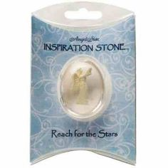 """When you """"Reach for the Stars"""" Miracles Happen. This stone features an angel reaching up towards a star. The stone is in it's own presentational pillow. Use this stone in whatever way feels right to you. Put the stone in your pocket or purse to use as a touch stone reminder to believe in your dreams. Some hold the stone in their hands to use to let go of stress or worries, others imagine Inspiration and Peace surrounding them.The possibilities are endless! £4.50 www.angeliccreationsshop.net"""