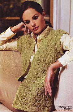Pistachio Vest free knitting graph pattern
