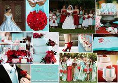 Aqua & Red Wedding Theme by One White Dress, via Flickr
