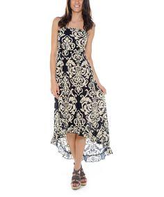 Love this Prestige Edge Navy & Tan Damask Silk-Blend Hi-Low Maxi Dress by Prestige Edge on #zulily! #zulilyfinds