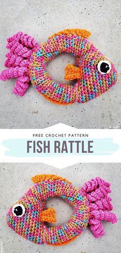 handmade free pattern How to Crochet Fish Rattle Crochet Purse Patterns, Crochet Patterns Amigurumi, Crochet Toys, Free Crochet, Knit Crochet, Crochet Fish, Crochet For Kids, Fisher, Baby Rattle