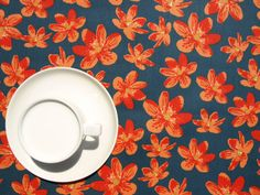 Tablecloth+blue+grey+orange+small+anemone+flowers++by+Dreamzzzzz,+$25.00