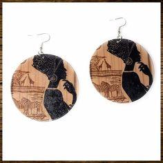 Wooden Earrings ~ Ethnic Woman & Animals ~ #DropDangle