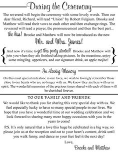 Something like this might be great for us- having the ceremony and recepeption at the same place, this has all the info presented in a simple way