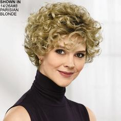 Francie WhisperLite® Wig by Paula Young® Messy Bob Hairstyles, Short Curly Haircuts, Medium Bob Hairstyles, Curly Hair Cuts, Short Hair Cuts, Straight Hairstyles, Curly Hair Styles, Hairstyles 2018, Bob Haircuts