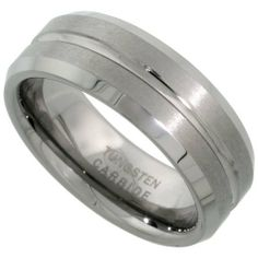 Tungsten Carbide 8 mm Flat Wedding Band Ring Satin Finished Grooved Center Beveled Edges, sizes 5 to 14 Sabrina Silver. $24.50