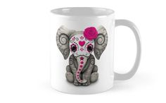 Pink Day of the Dead Sugar Skull Baby Elephant Mugs