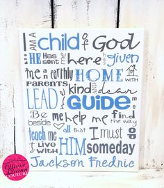 I Am A Child of God Art Print Prayer by OliviaQuinnCouture on Etsy