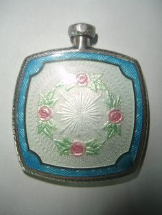 Antique Sterling Silver White and Blue Guilloche Enamel Perfume Flask