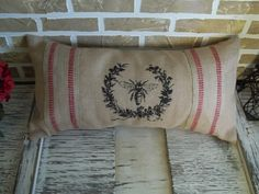 Red Stripe Burlap French Bee Pillow by SimplyFrenchMarket