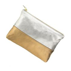 Want it: Colorblock leather pouch in silver/gold